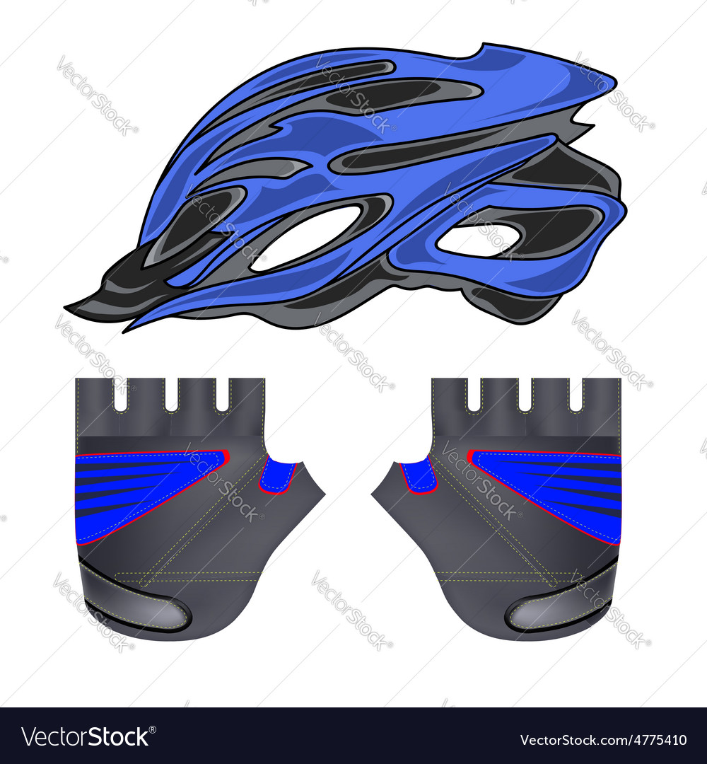 Blue helmet and gloves vector | Price: 1 Credit (USD $1)