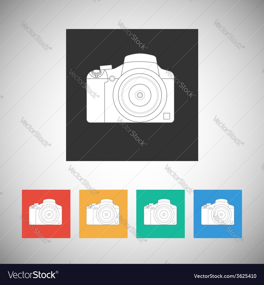 Camera icon on square background with long shadow vector | Price: 1 Credit (USD $1)