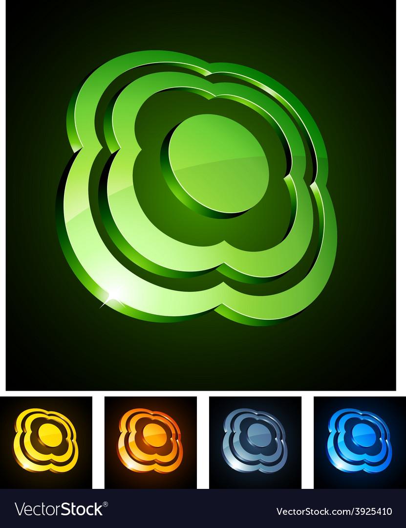 Flower vibrant emblems vector | Price: 1 Credit (USD $1)