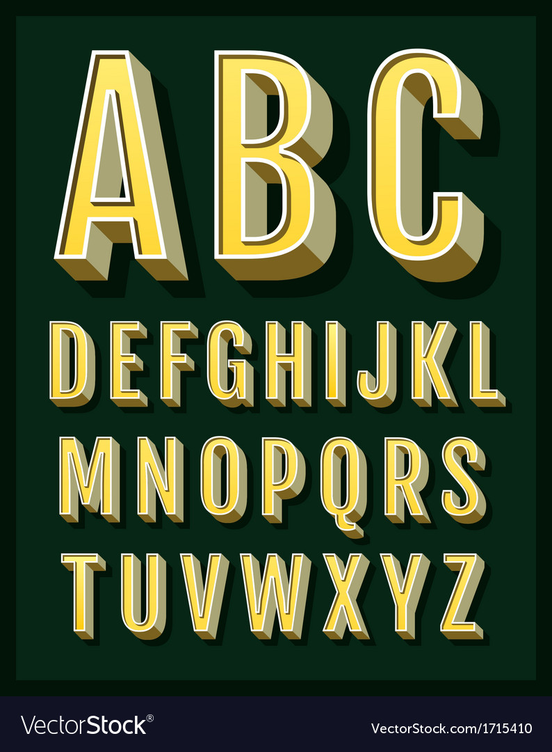 Retro type font vintage alphabet vector | Price: 1 Credit (USD $1)