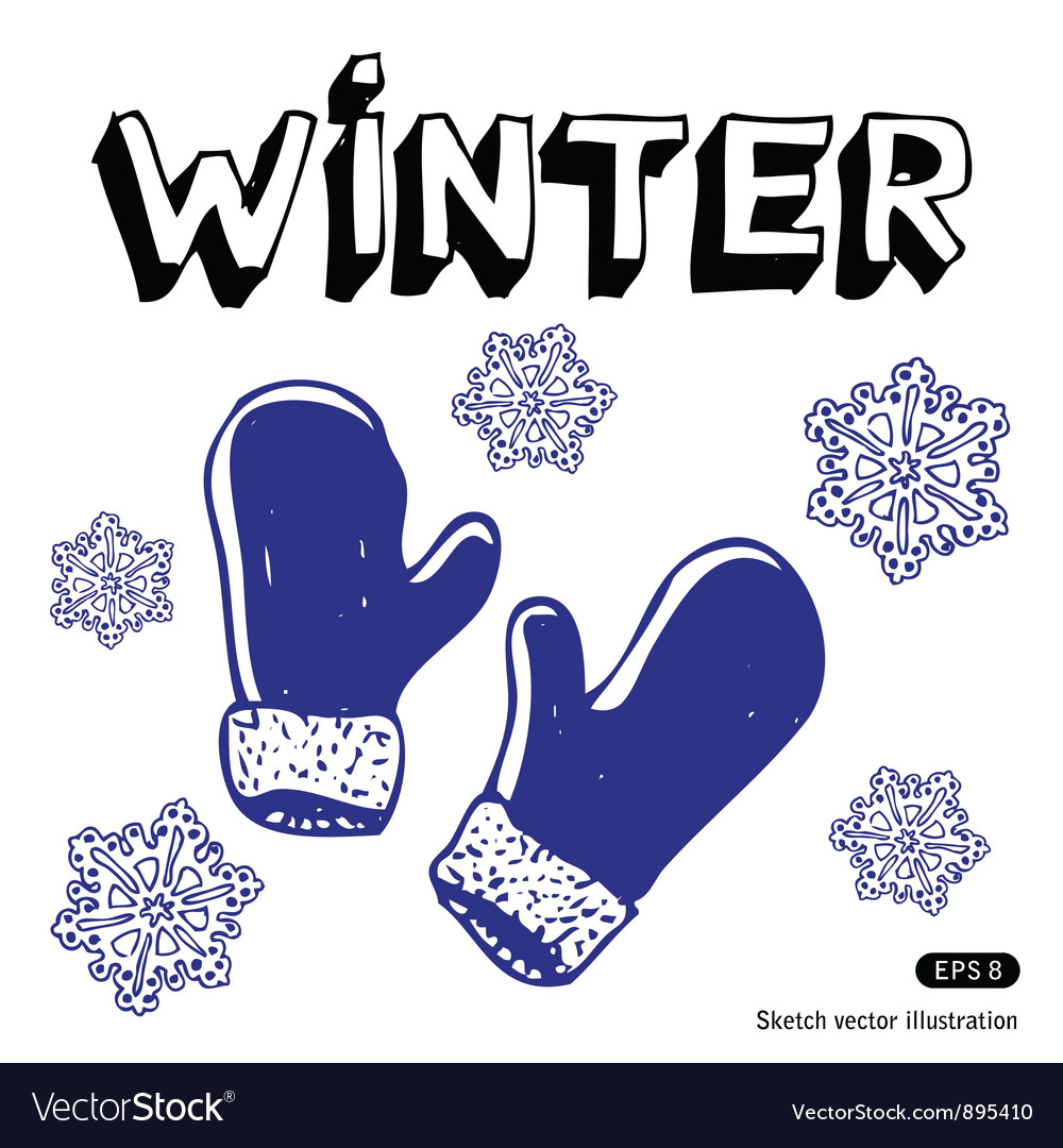 Snowflakes and mittens vector   Price: 1 Credit (USD $1)