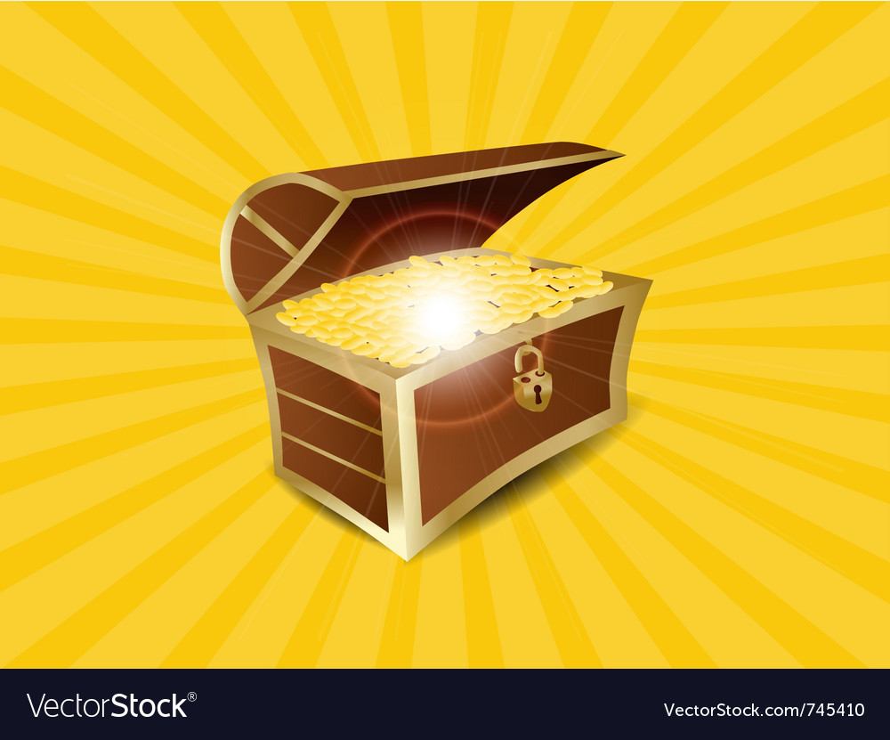 Treasure full of gold vector