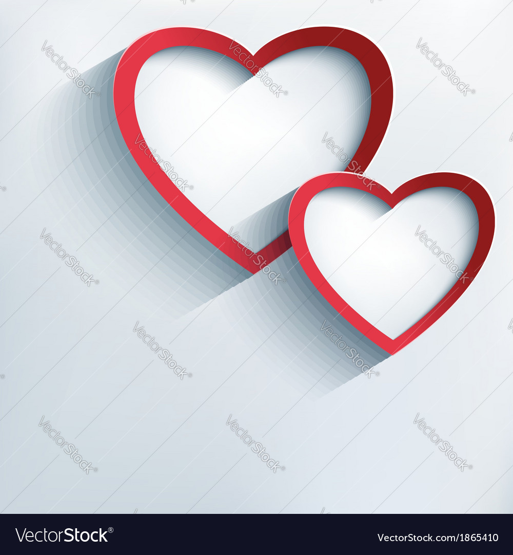 Valentine background with two stylish 3d hearts vector | Price: 1 Credit (USD $1)