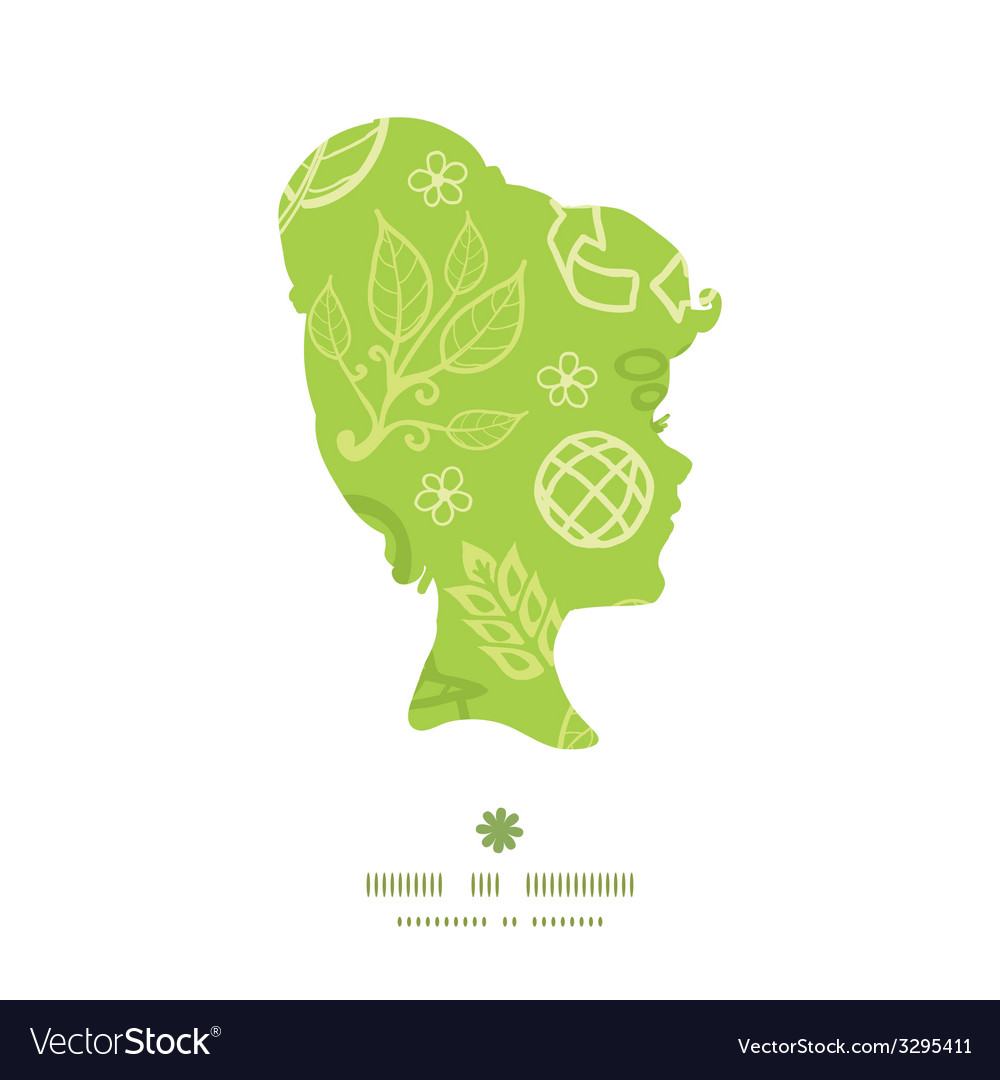 Environmental girl portrait silhouette pattern vector | Price: 1 Credit (USD $1)