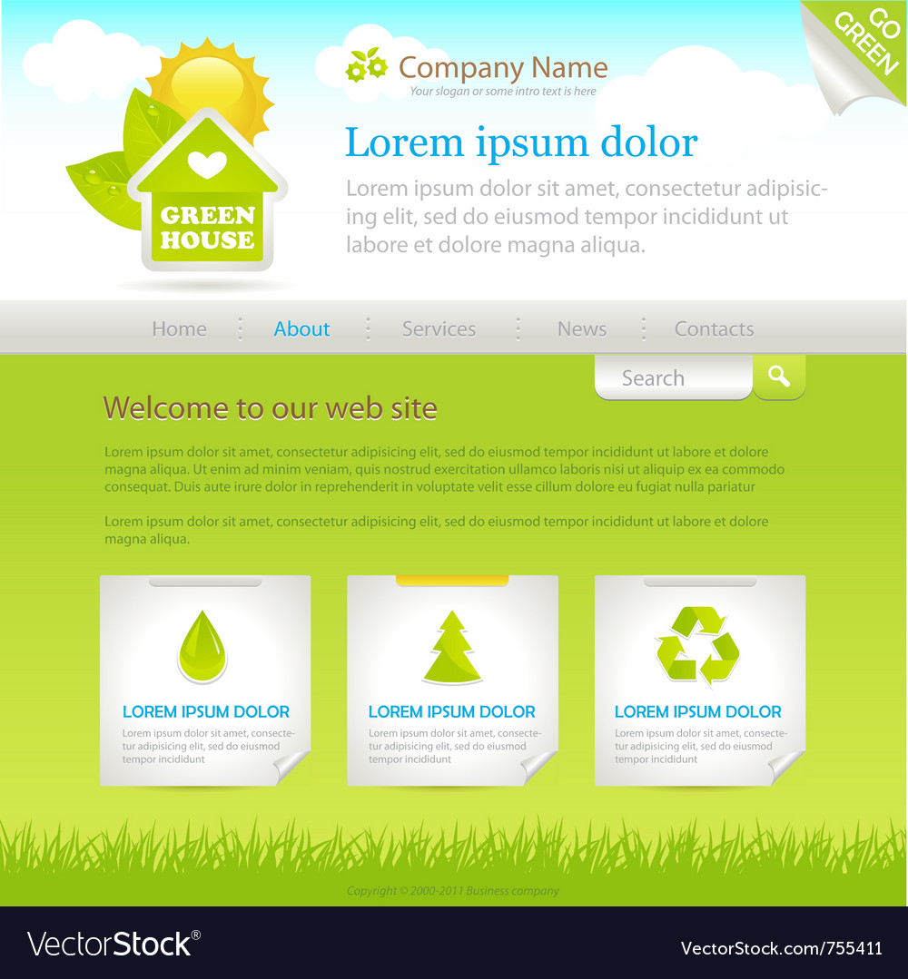 Green house web site design template vector | Price: 3 Credit (USD $3)