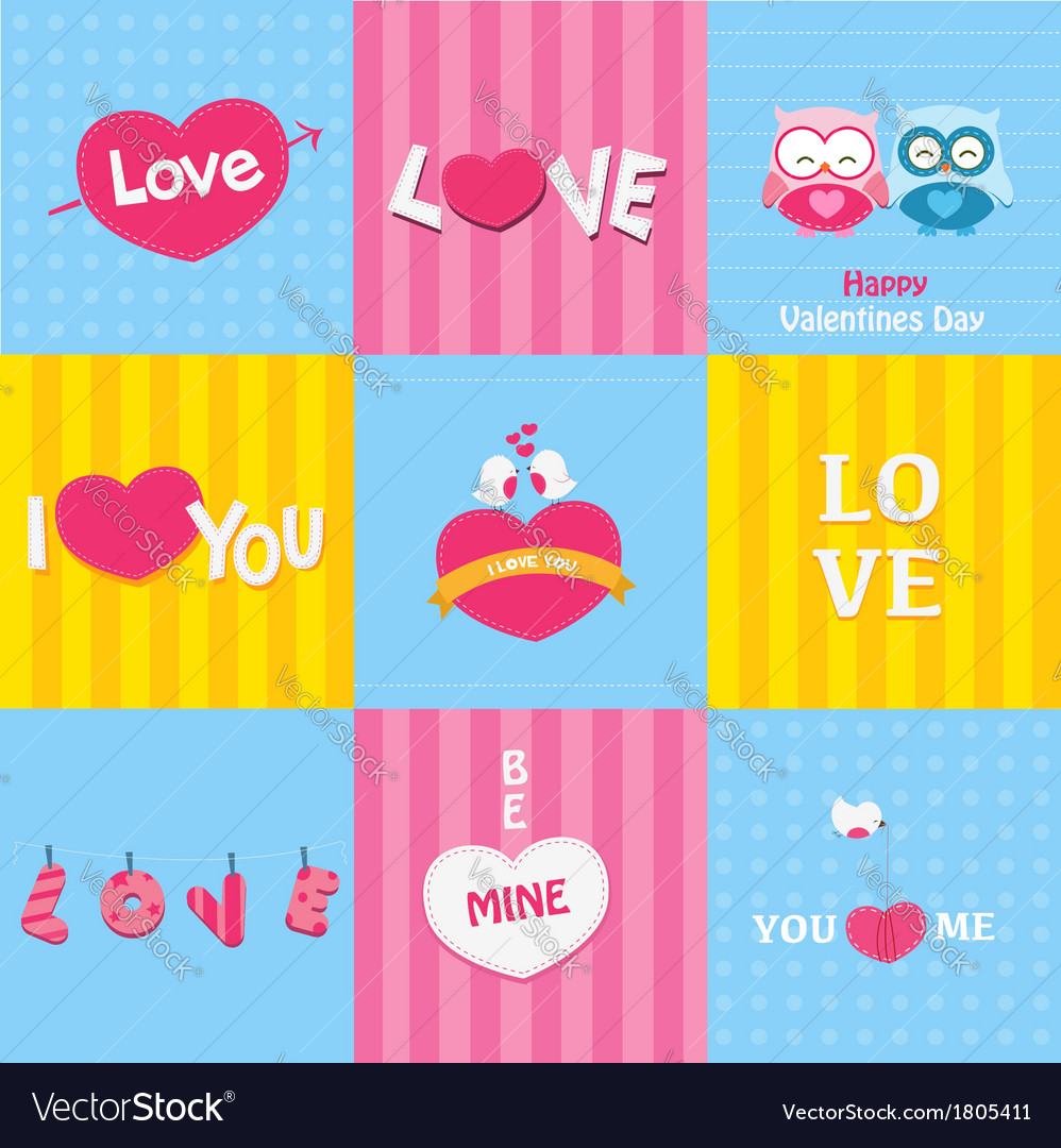 Retro love cards vector | Price: 1 Credit (USD $1)