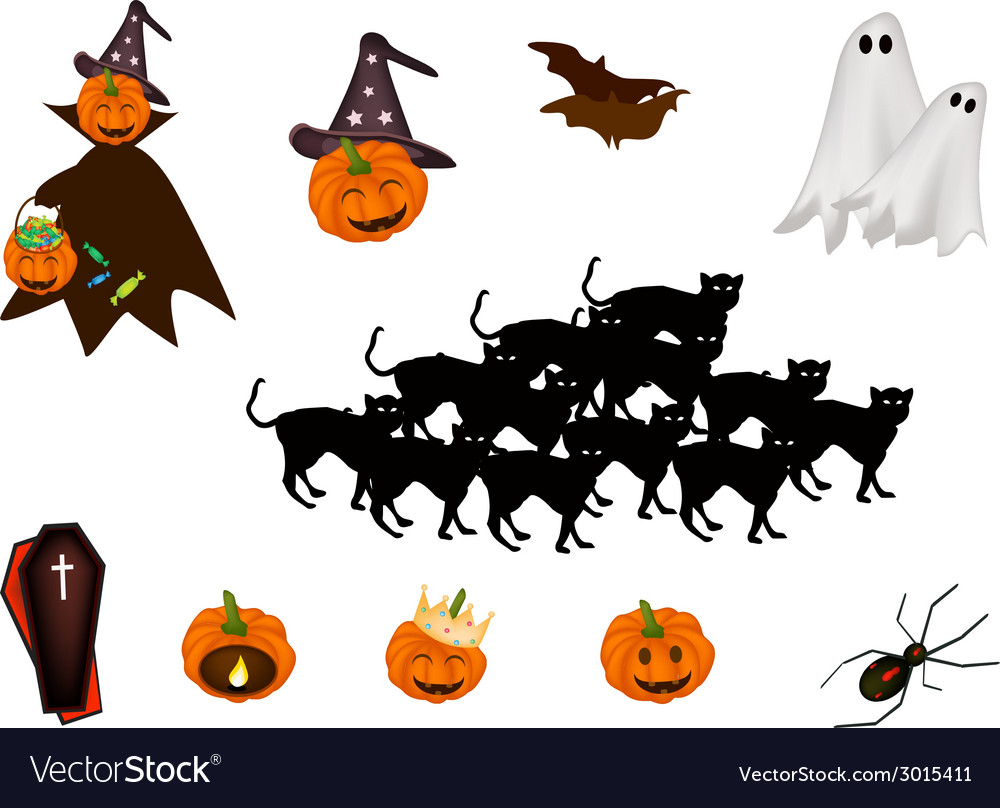 Set of various halloween item and monster vector | Price: 1 Credit (USD $1)