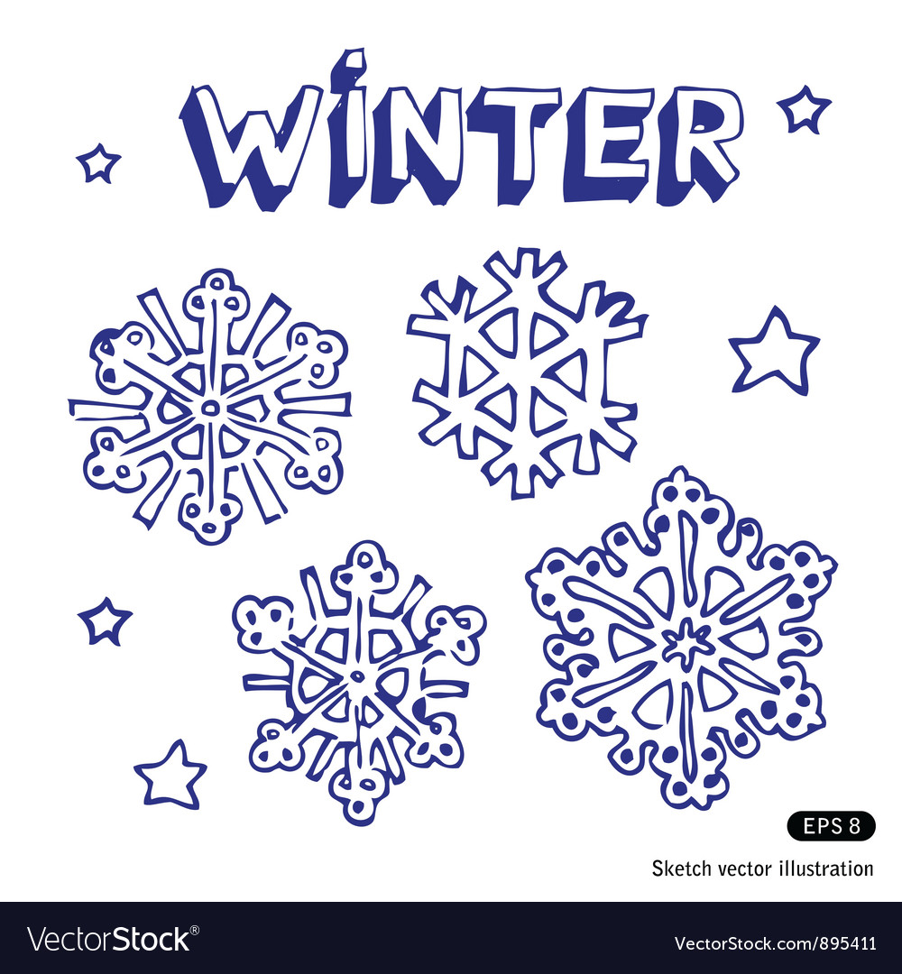 Snowflakes and stars vector | Price: 1 Credit (USD $1)