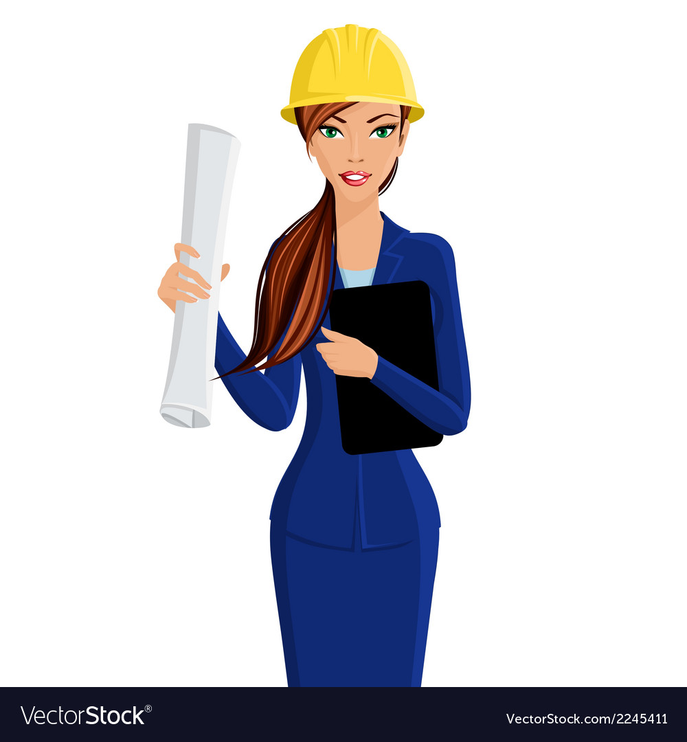 Woman engineer portrait vector | Price: 1 Credit (USD $1)