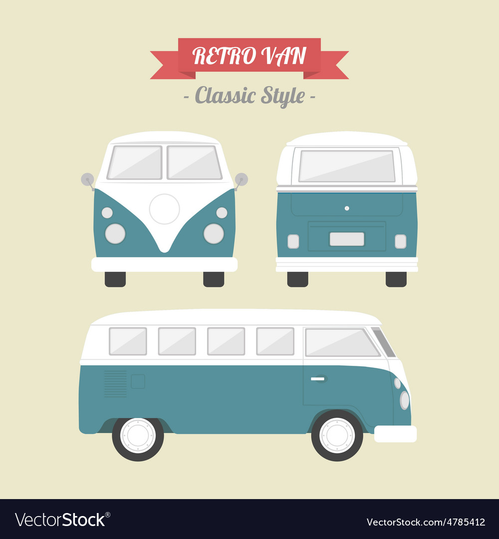 96retro van vector