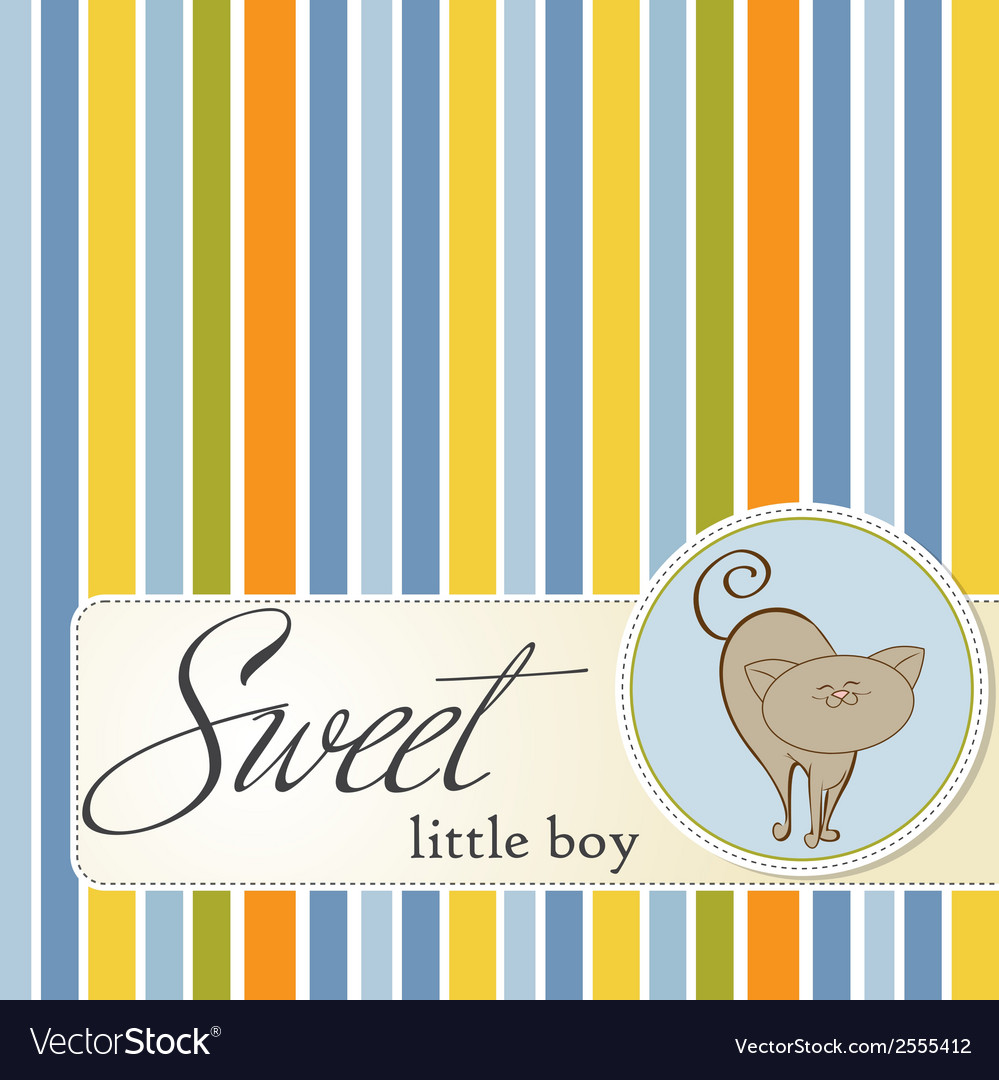 Baby shower card with cat vector | Price: 1 Credit (USD $1)