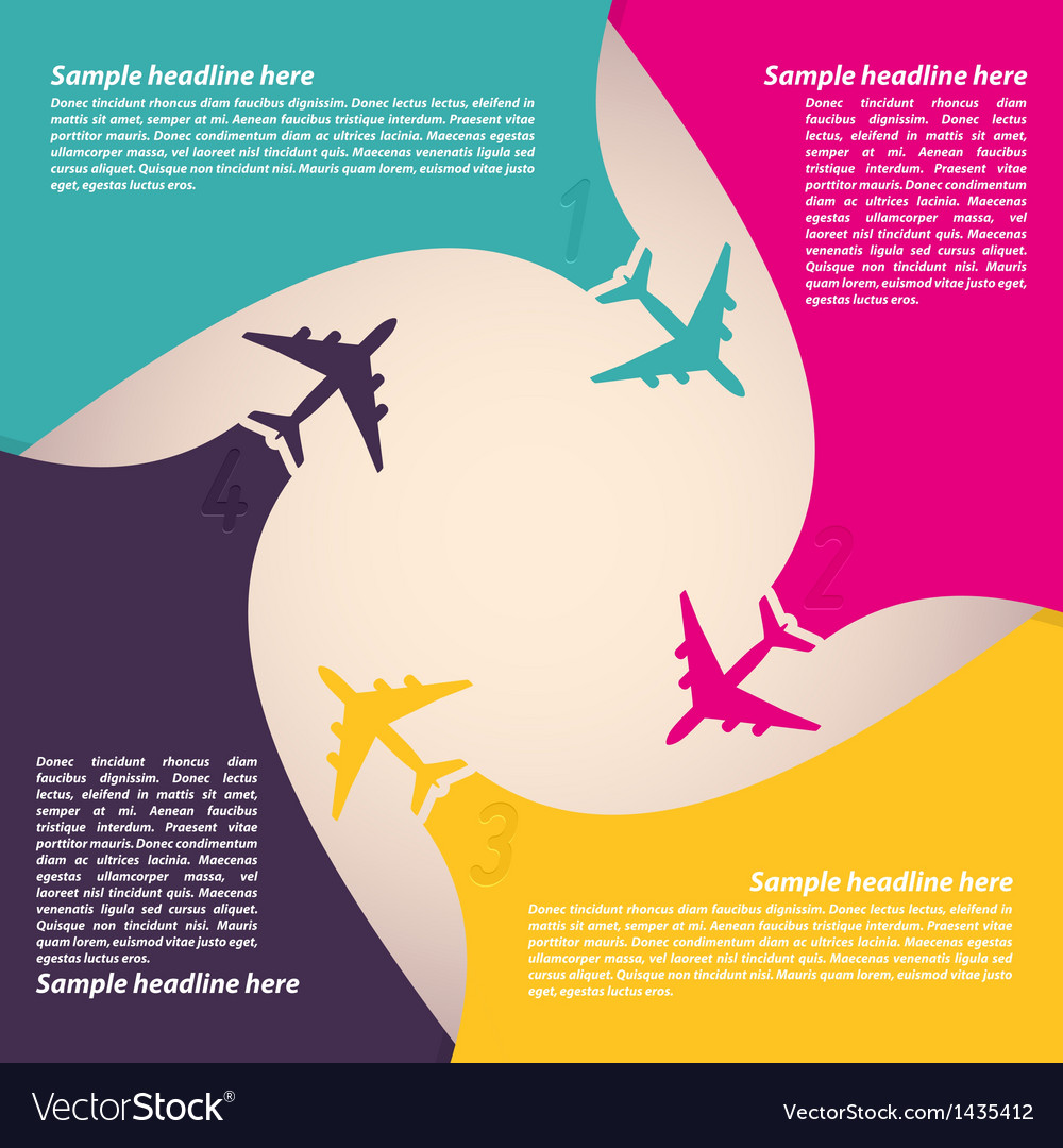 Background with colorful airplanes vector | Price: 1 Credit (USD $1)