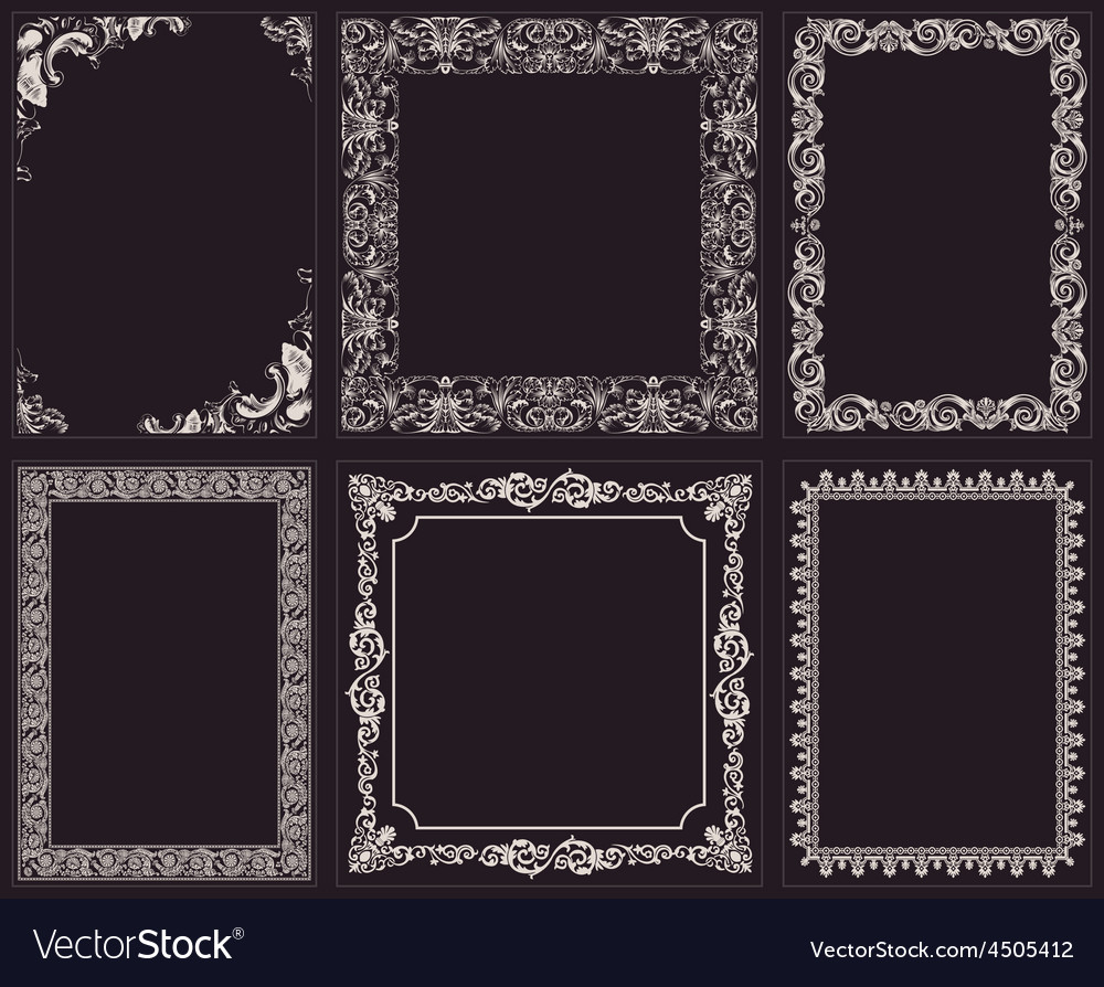 Calligraphic frames set baroque ornament and vector | Price: 1 Credit (USD $1)