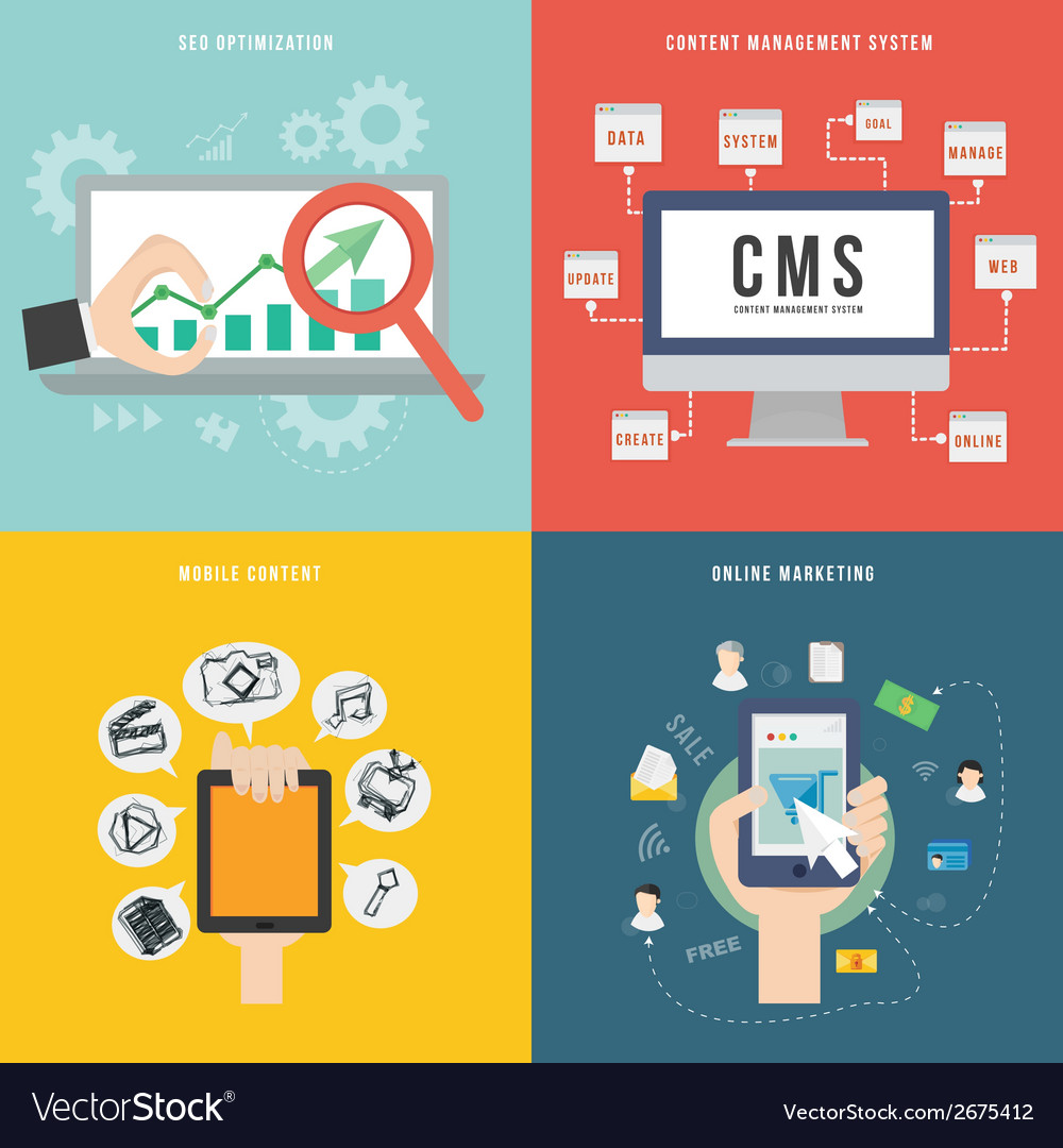 Element of seo cms mobile and marketing concept vector | Price: 1 Credit (USD $1)