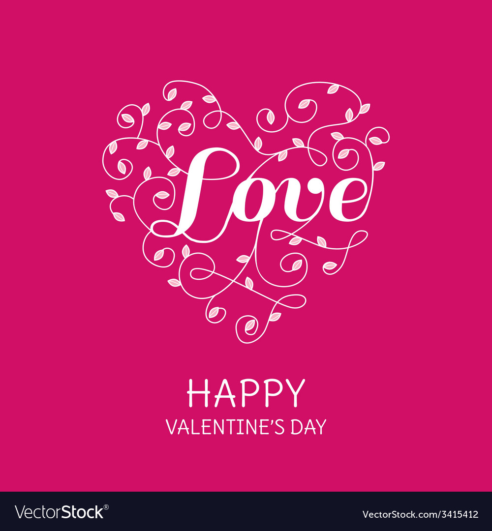 Floral heart with love word - for valentines day vector | Price: 1 Credit (USD $1)