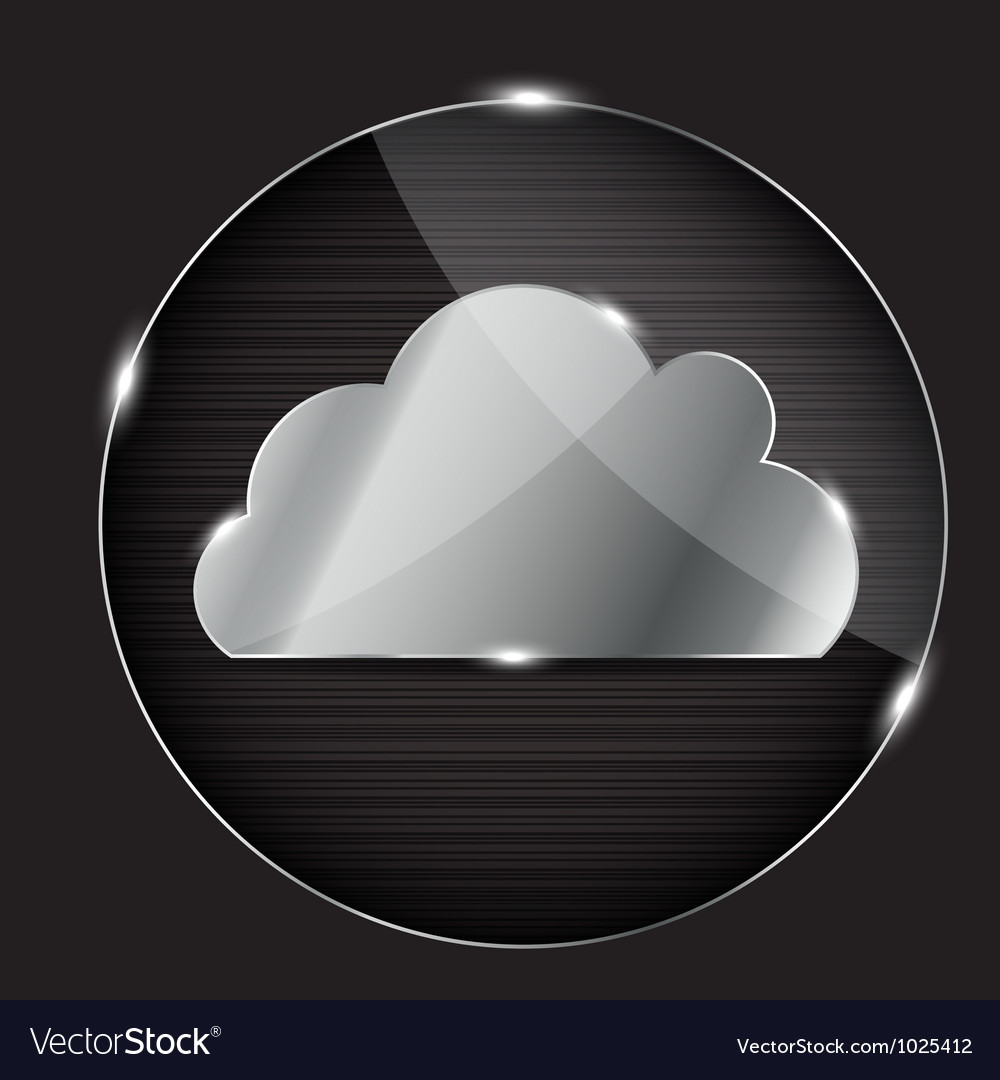 Glass button with cloud icon vector | Price: 1 Credit (USD $1)