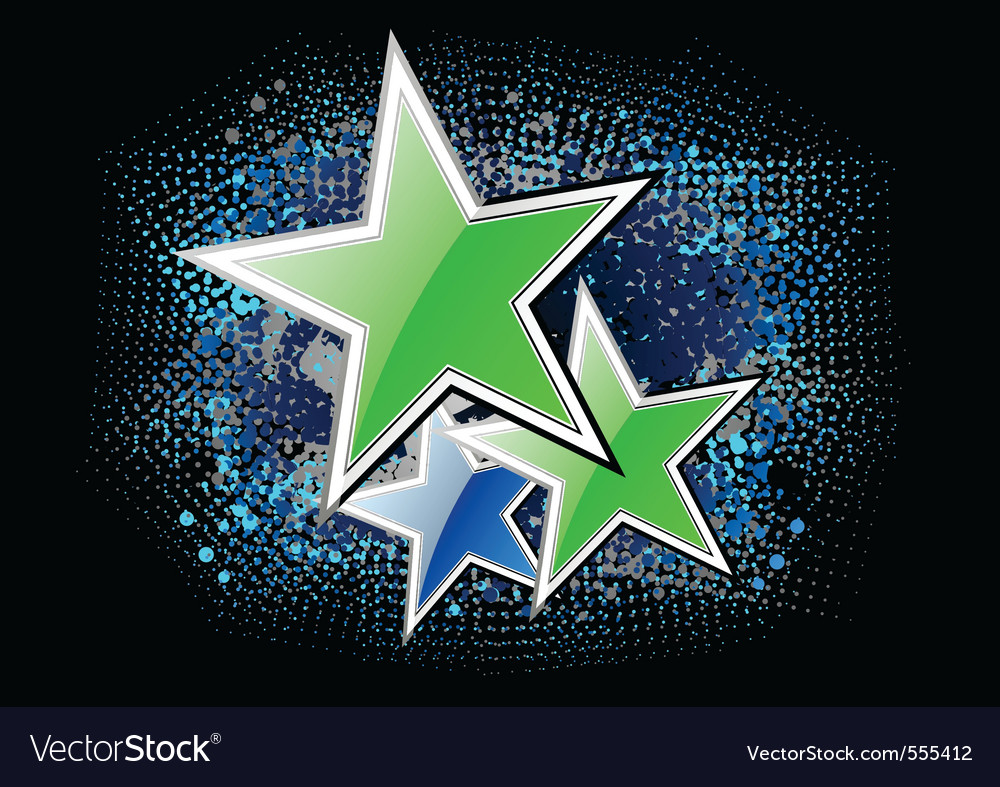Green stars on the black background vector | Price: 1 Credit (USD $1)