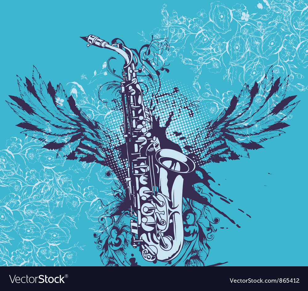 Music with saxophone vector | Price: 1 Credit (USD $1)