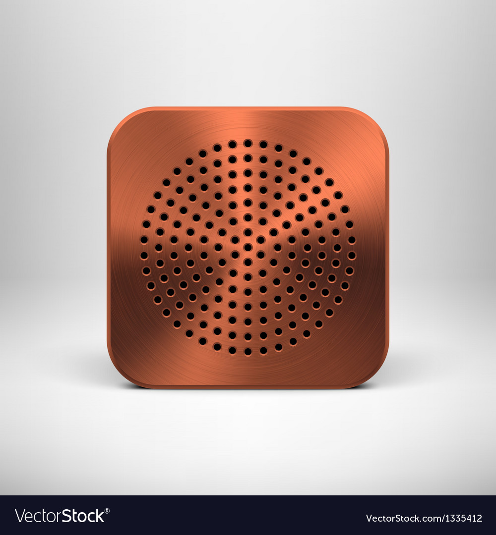 Technology app icon with bronze metal texture vector