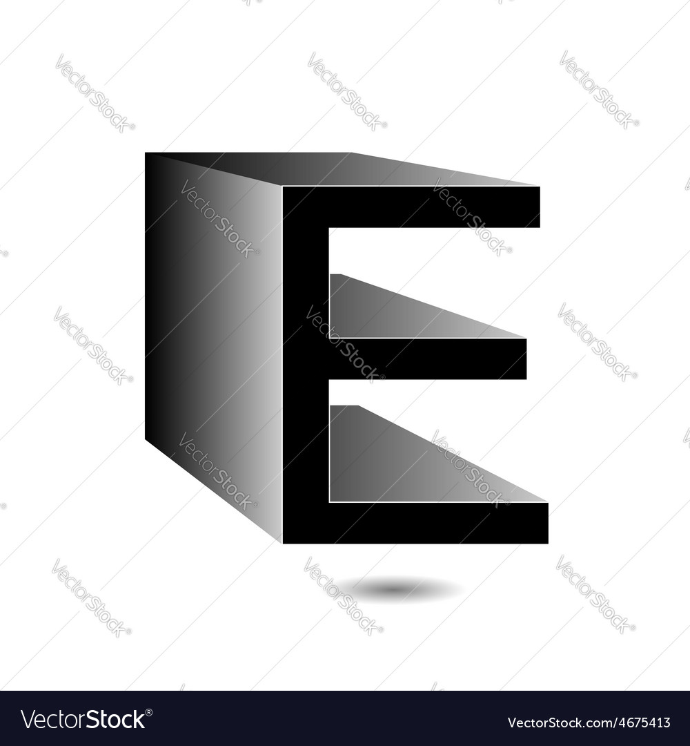 3d alphabet e in grey vector | Price: 1 Credit (USD $1)