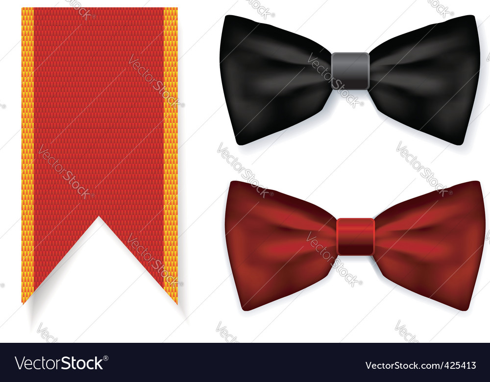 Bow tie and red ribbon vector | Price: 1 Credit (USD $1)