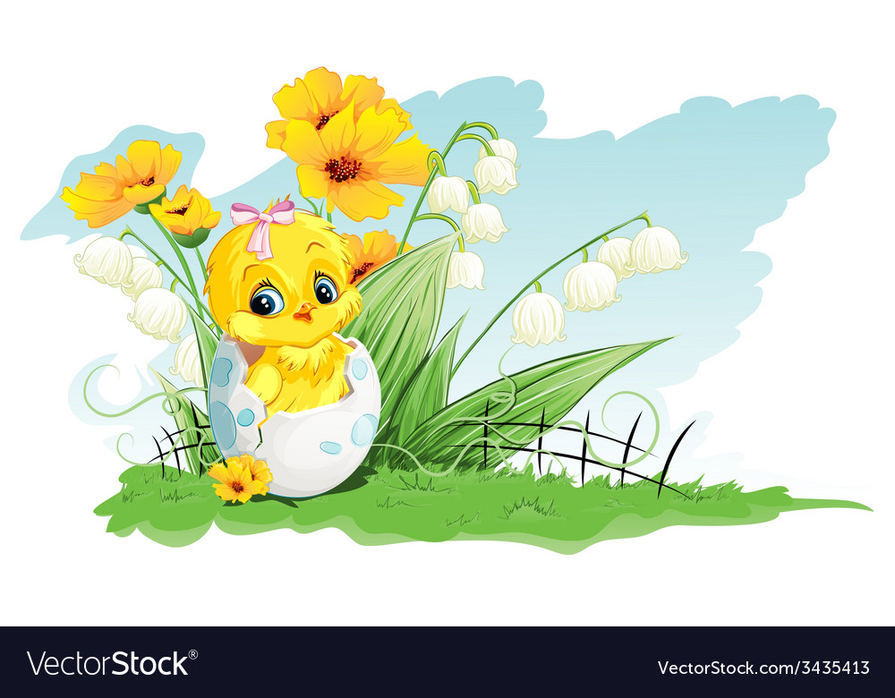 Chicken in the egg and lilies of the valley on a vector | Price: 1 Credit (USD $1)