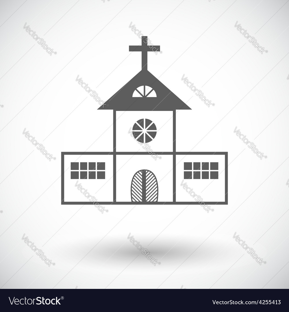 Church single flat icon vector | Price: 1 Credit (USD $1)