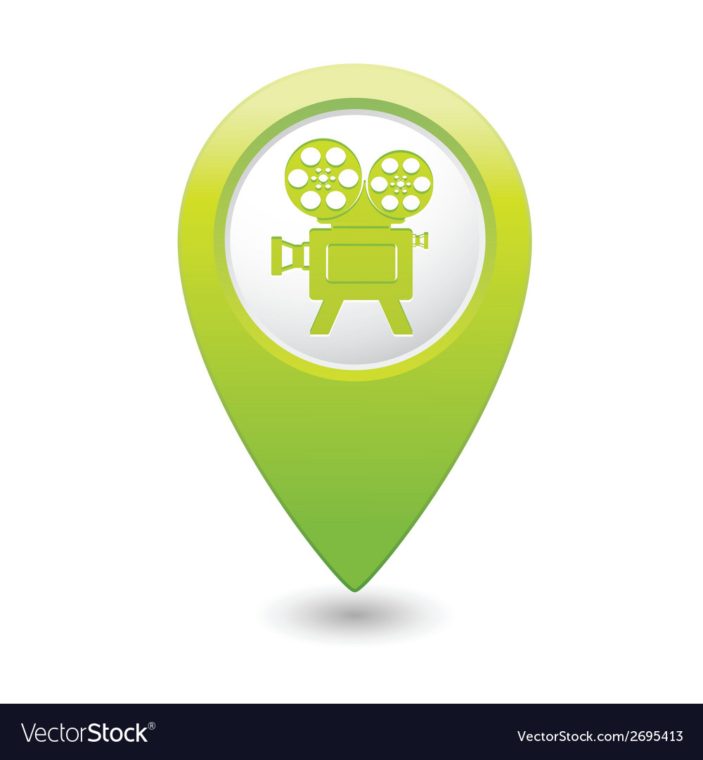 Cinema icon green map pointer vector | Price: 1 Credit (USD $1)