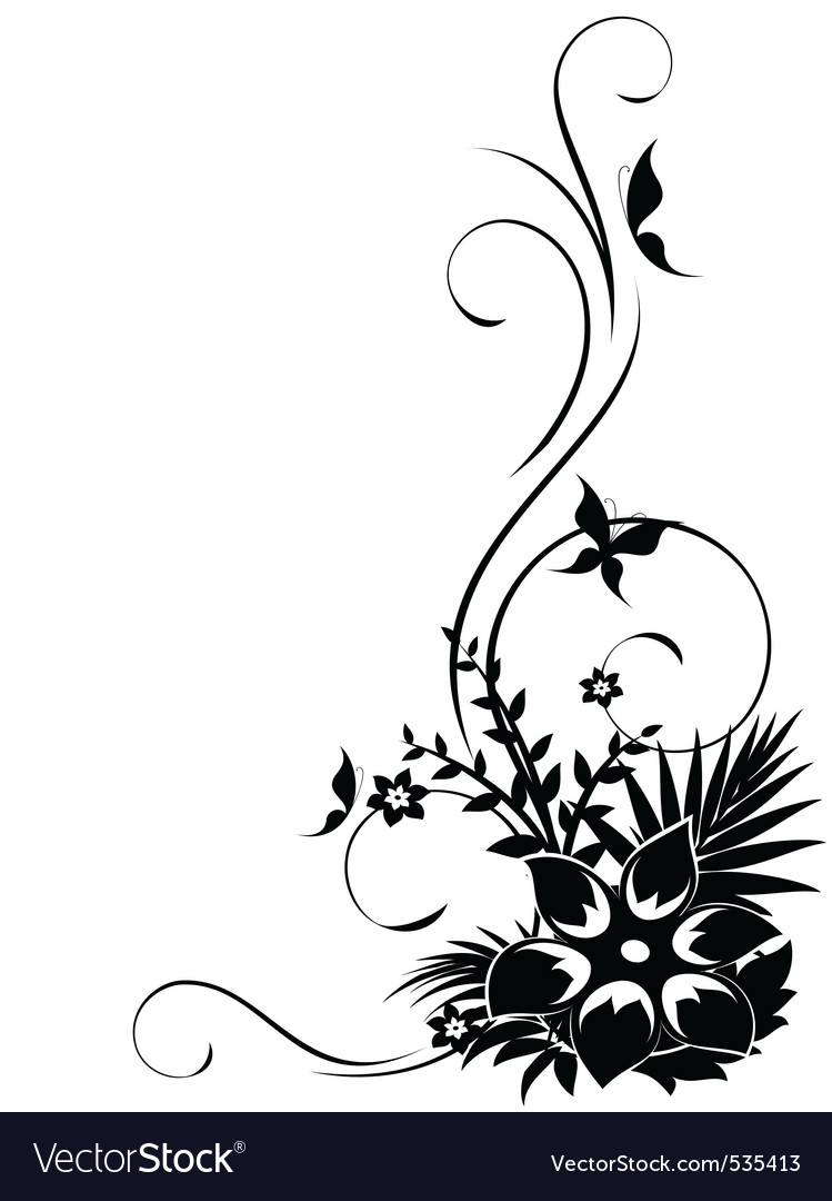 Ct floral corner with swirls vector vector | Price: 1 Credit (USD $1)