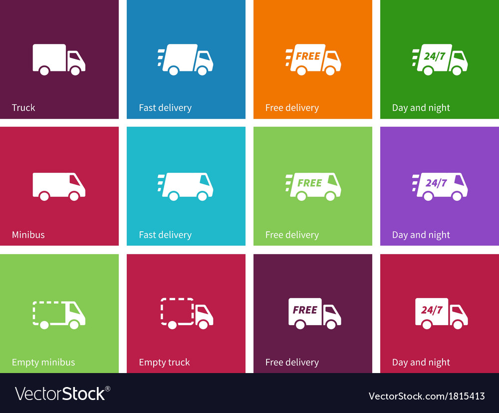 Delivery service icons on color background vector | Price: 1 Credit (USD $1)