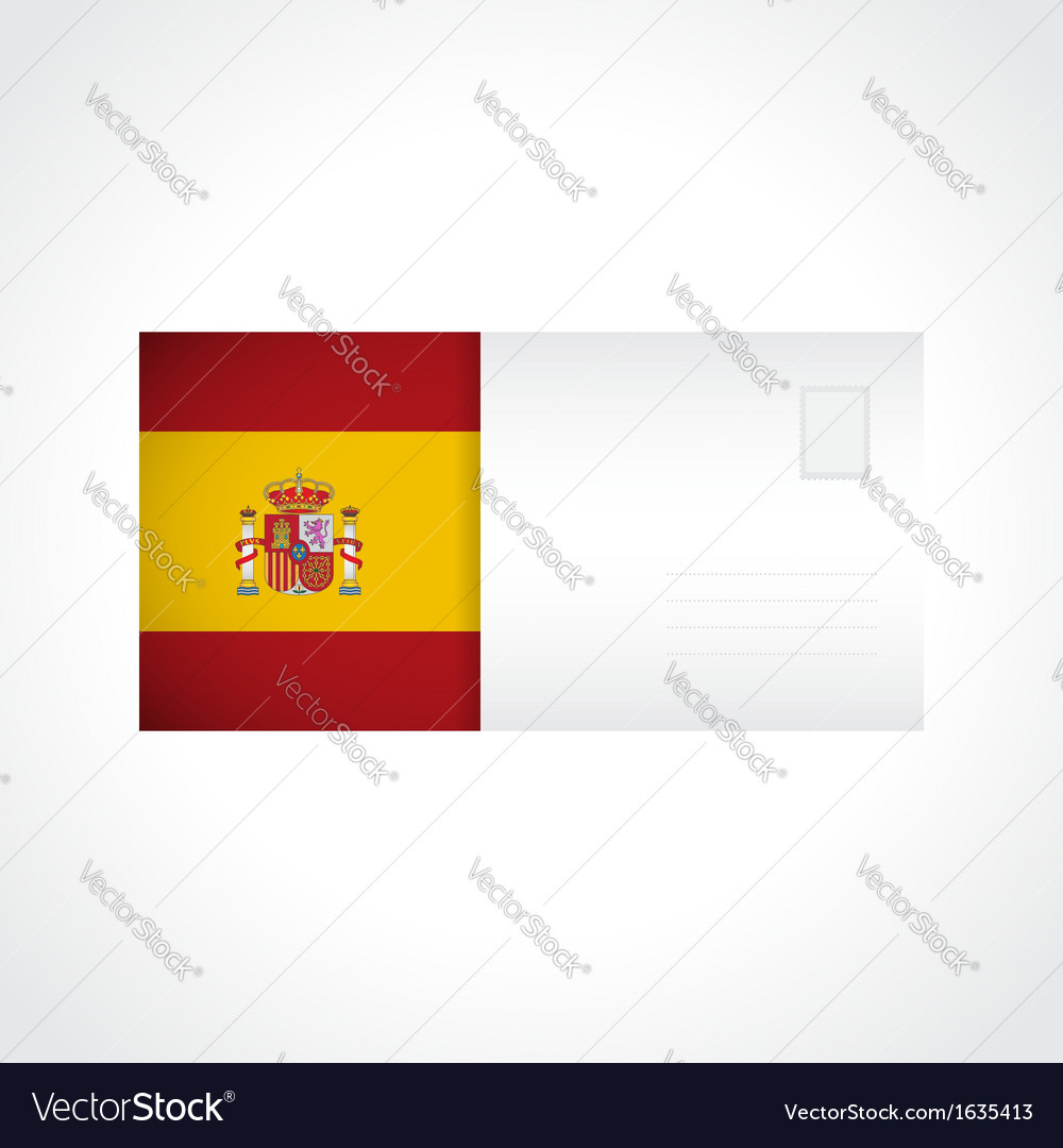 Envelope with spanish flag card vector | Price: 1 Credit (USD $1)