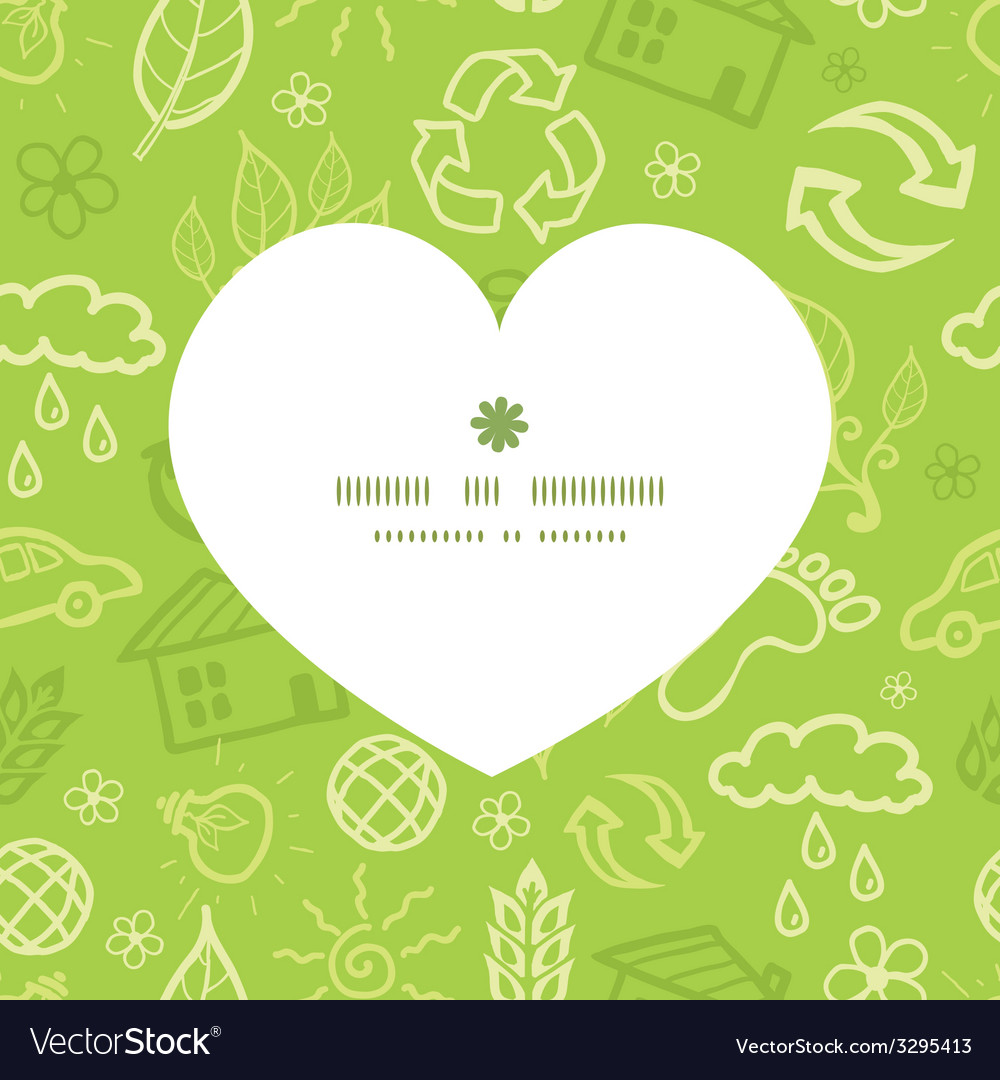 Environmental heart silhouette pattern frame vector | Price: 1 Credit (USD $1)