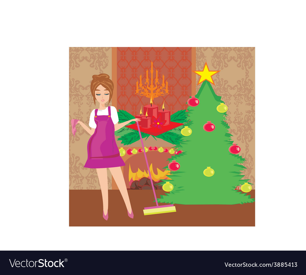Housewife cleaning house before christmas vector | Price: 1 Credit (USD $1)