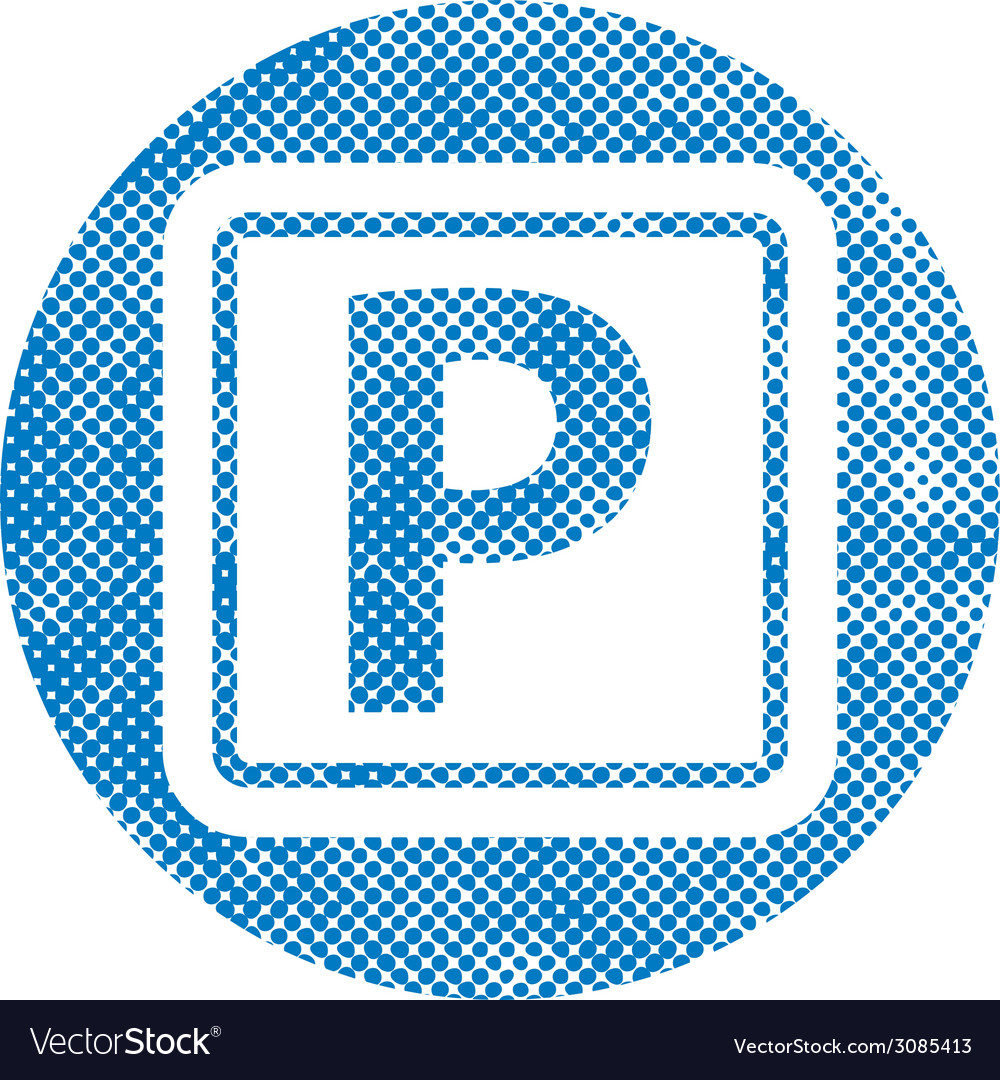 Isolated parking sign with pixel print halftone vector | Price: 1 Credit (USD $1)