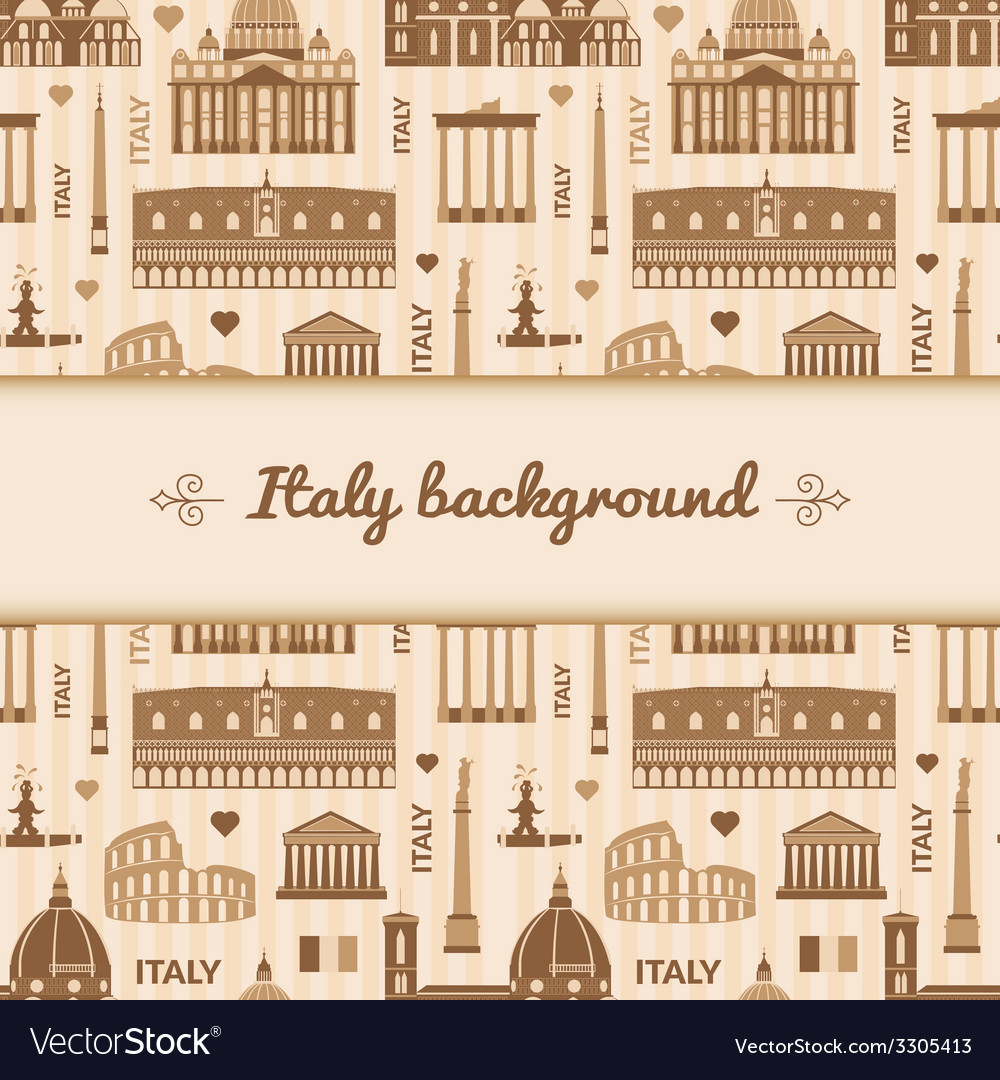 Landmarks of italy background with space for text vector   Price: 1 Credit (USD $1)