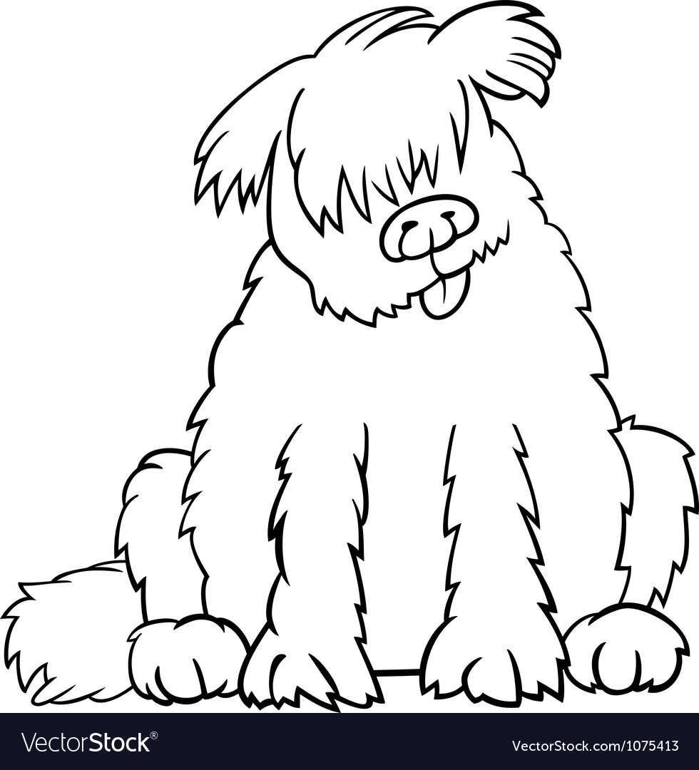 Newfoundland dog cartoon for coloring book vector | Price: 1 Credit (USD $1)