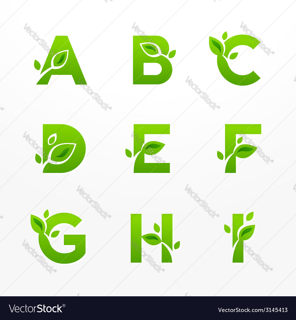 Set of green eco letters logo with leaves vector | Price: 1 Credit (USD $1)