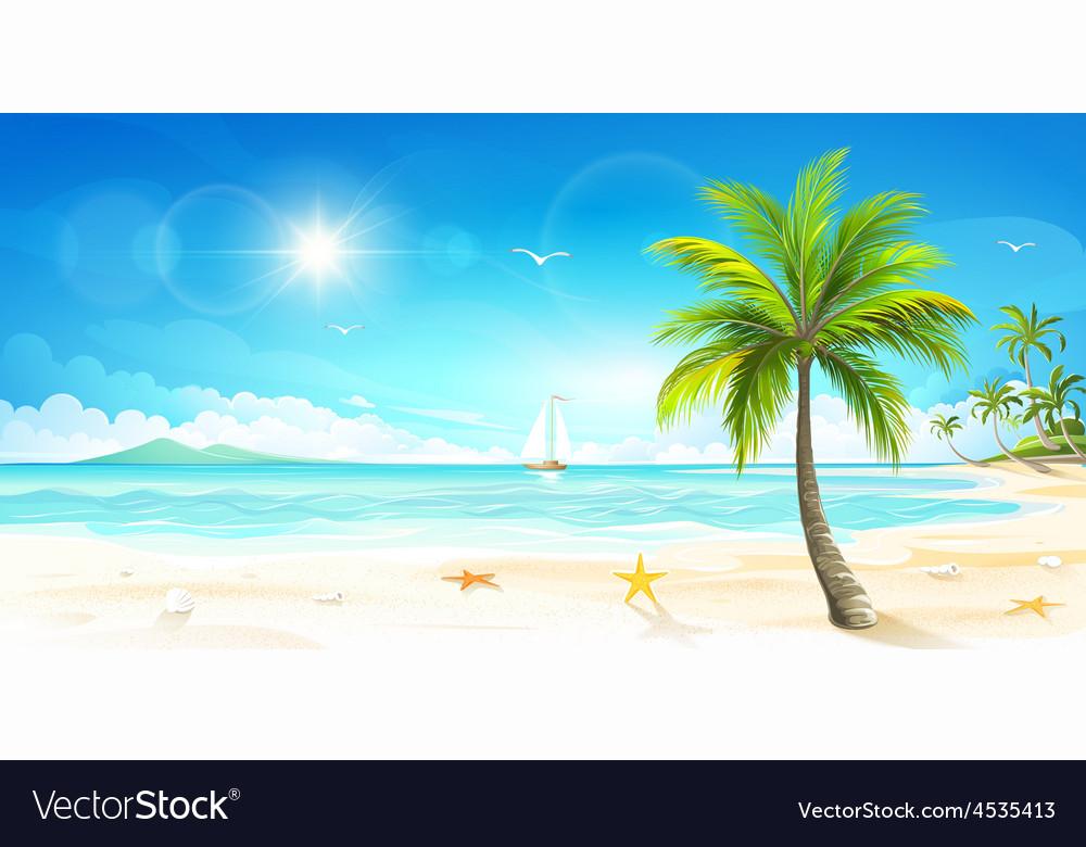 Tropical beach vector | Price: 3 Credit (USD $3)