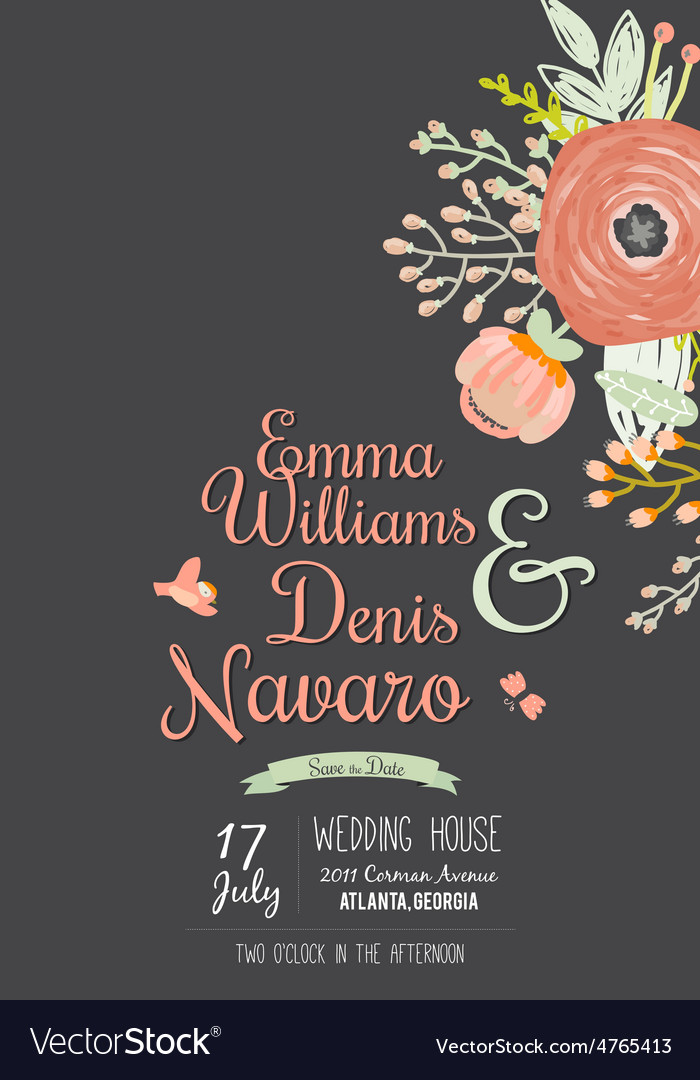 Wedding romantic floral save the date invitations vector | Price: 1 Credit (USD $1)