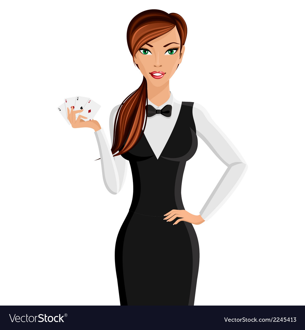 Woman casino dealer portrait vector | Price: 1 Credit (USD $1)