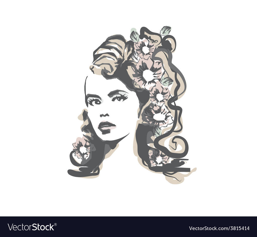 Abstract beautiful woman portrait vector | Price: 1 Credit (USD $1)