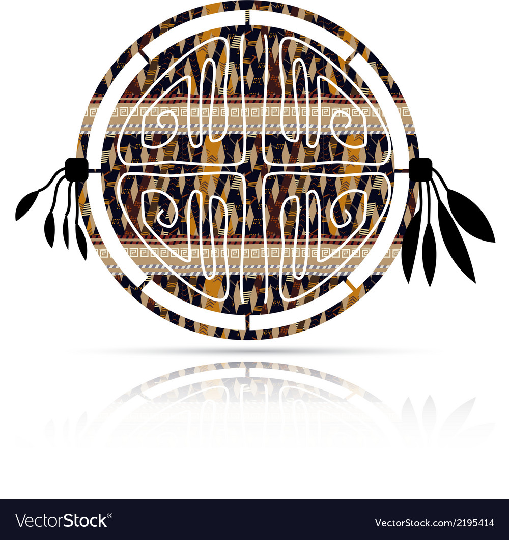 Abstract tambourine in ethnic style with shadow vector | Price: 1 Credit (USD $1)