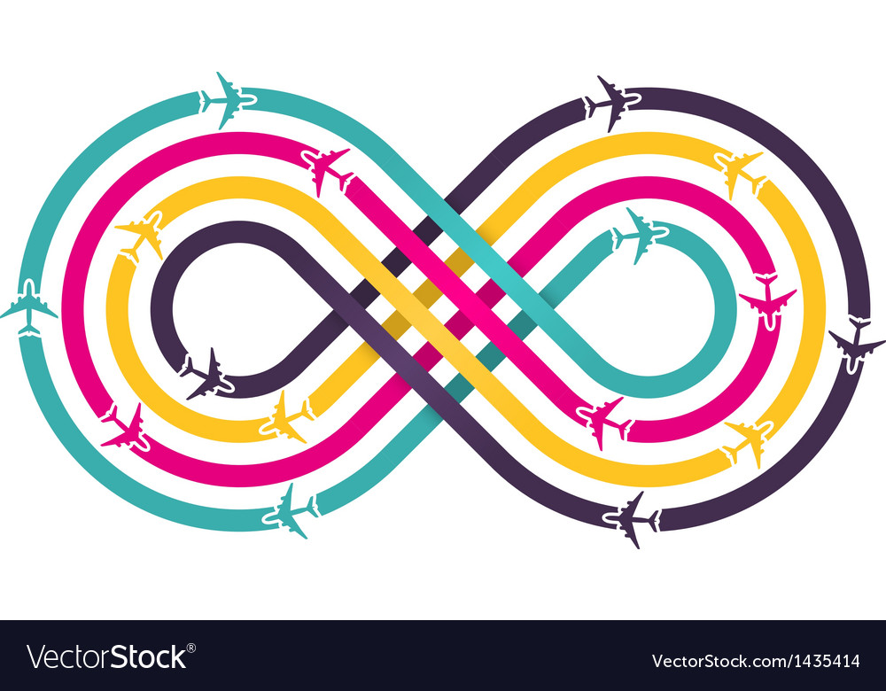 Colorful infinity sign with airplanes vector | Price: 1 Credit (USD $1)