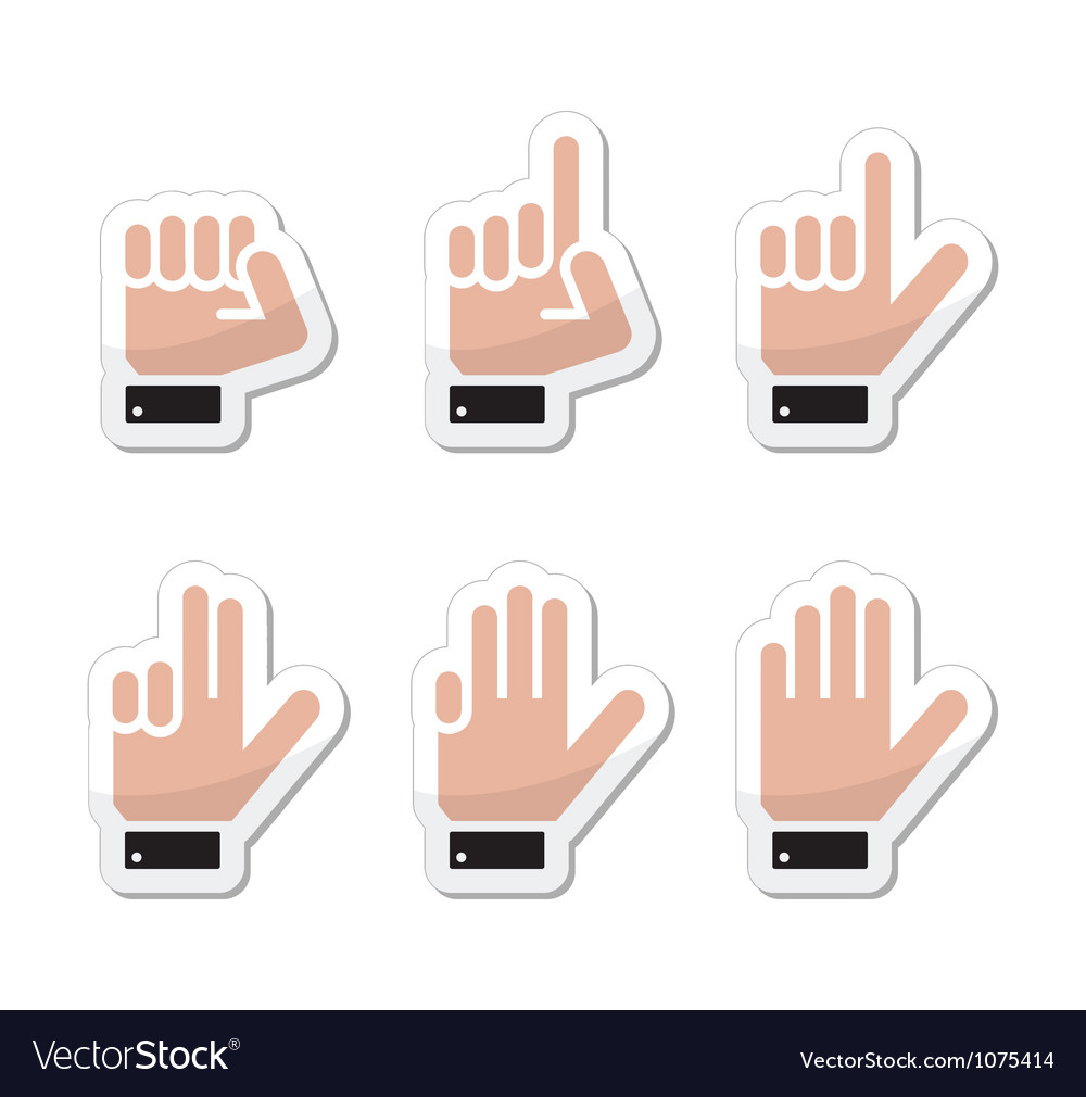 Counting hand signs as labels - isolated vector | Price: 1 Credit (USD $1)
