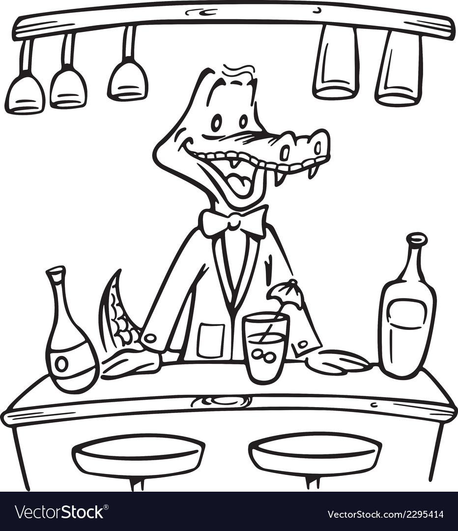 Crocodile bartender outline vector | Price: 1 Credit (USD $1)