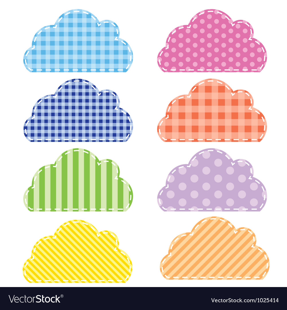 Different colored speech bubbles in clouds style vector | Price: 1 Credit (USD $1)
