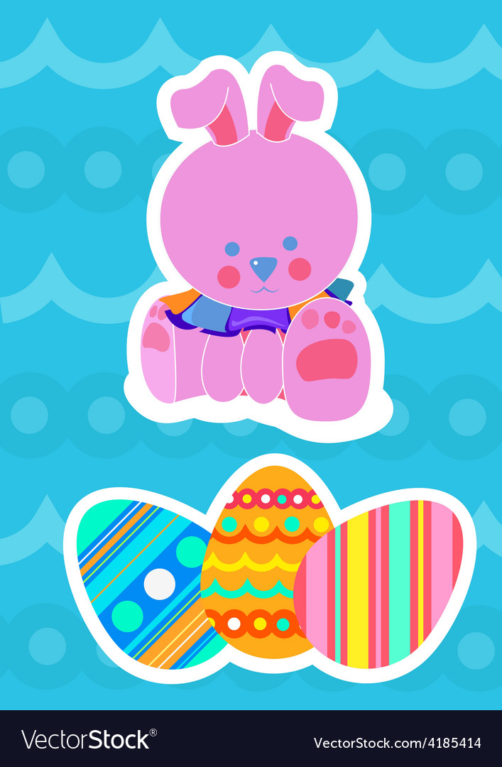 Easter bunny and painted eggs vector | Price: 1 Credit (USD $1)