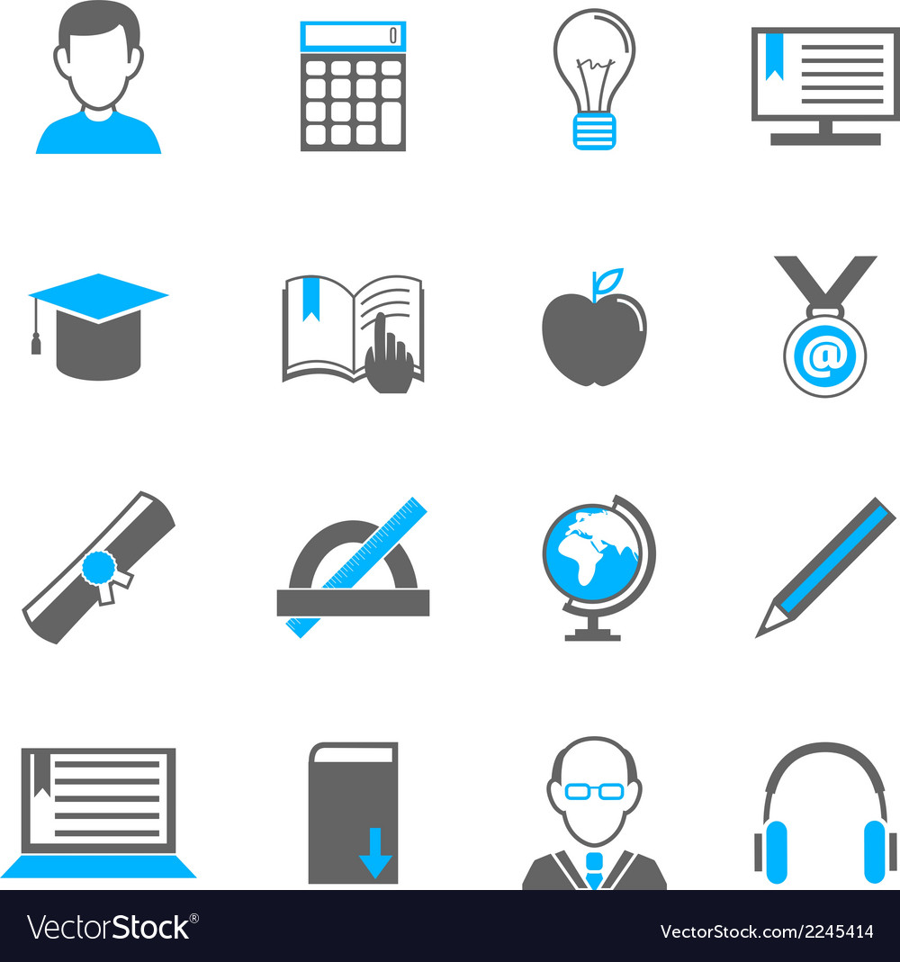 E-learning icon set vector | Price: 1 Credit (USD $1)