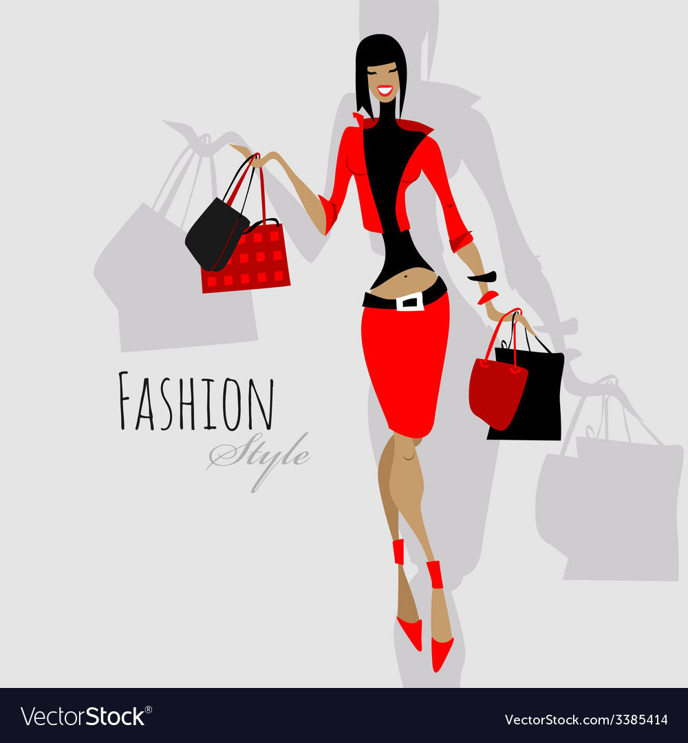 Fashion girl woman with shopping bags vector   Price: 1 Credit (USD $1)