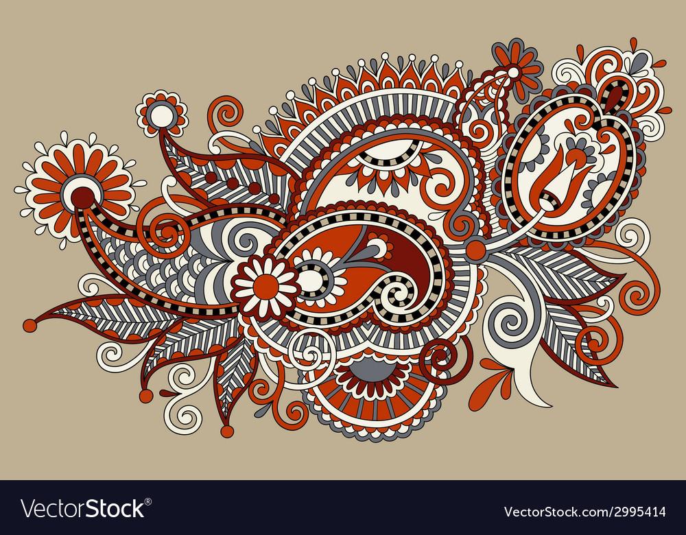 Original digital draw line art ornate flower vector | Price: 1 Credit (USD $1)